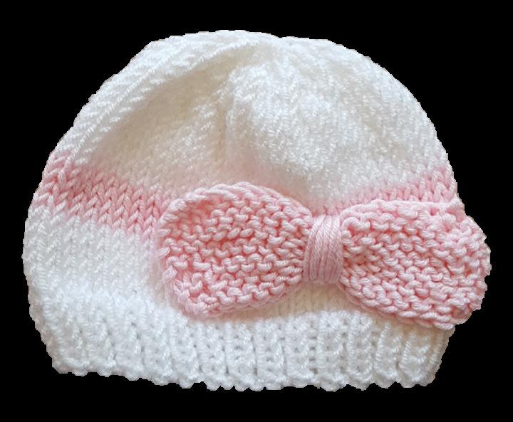 Frühchenmütze weiß mit rosa Schleife