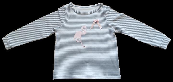 grau-weiß gestreiftes Jerseyshirt