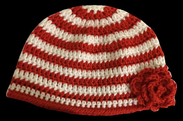 Mütze rot-weiß mit Blume