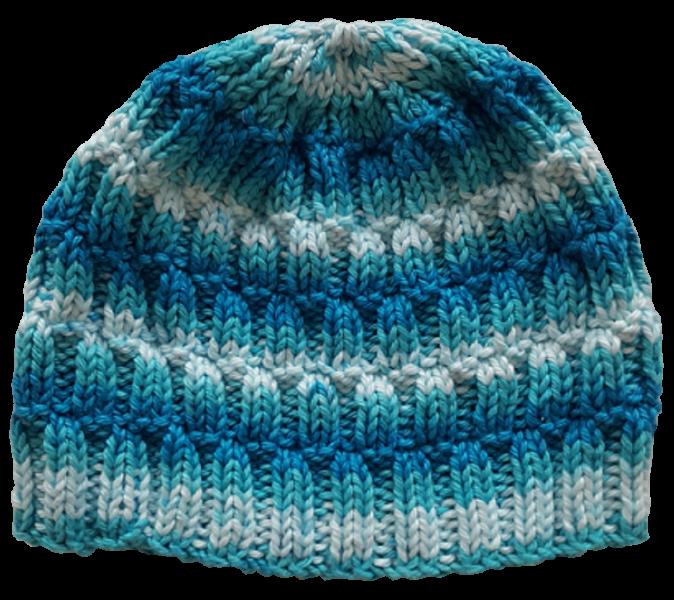 Mütze im Farbmix türkis-weiß